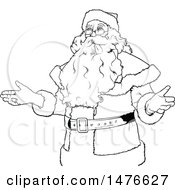 Clipart Of A Black And White Santa Claus Royalty Free Vector Illustration by dero