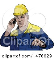 Clipart Of A Male Worker Talking On A Cell Phone Royalty Free Vector Illustration by dero