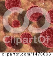 Clipart Of A 3d Red Virus Cells Background Royalty Free Illustration