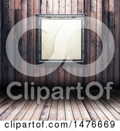 3d Blank Picture Frame With A Wooden Wall And Floor Background