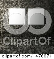 Clipart Of 3d Blank Canvases With A Stone Wall And Floor Background Royalty Free Illustration