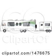 Cartoon White Man Driving A Motorhome With A Horse Trailer