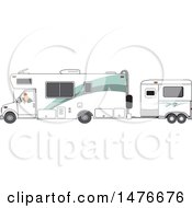 Cartoon White Man Backing Up A Motorhome With A Horse Trailer