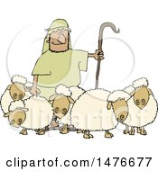 Clipart Of A Shepherd Guarding His Sheep Royalty Free Vector Illustration