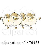 Clipart Of A Chorus Line Of Sheep Dancing The Can Can Royalty Free Vector Illustration