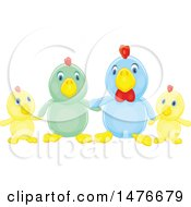 Clipart Of A Chicken Family Royalty Free Vector Illustration