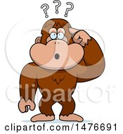 Clipart Of A Confused Bigfoot Scratching His Head Royalty Free Vector Illustration by Cory Thoman