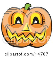 Grinning Carved Pumpkin On Halloween Clipart Illustration
