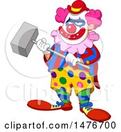 Clipart Of A Scary Evil Clown Holding A Hammer Royalty Free Vector Illustration