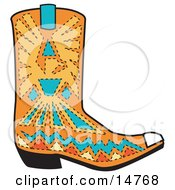 Orange Aztec Style Cowboy Boot With Blue And Yellow Accents Around A Bird Clipart Illustration