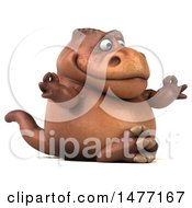 Clipart Of A 3d Brown Tommy Tyrannosaurus Rex Dinosaur Mascot On A White Background Royalty Free Illustration