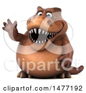 Clipart Of A 3d Brown Tommy Tyrannosaurus Rex Dinosaur Mascot Waving On A White Background Royalty Free Illustration by Julos