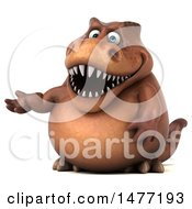 Clipart Of A 3d Brown Tommy Tyrannosaurus Rex Dinosaur Mascot Presenting On A White Background Royalty Free Illustration by Julos