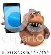Clipart Of A 3d Brown Tommy Tyrannosaurus Rex Dinosaur Mascot On A White Background Royalty Free Illustration by Julos