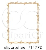 Rectangle Border Frame Of Barbed Wire Over A White Background Clipart Illustration