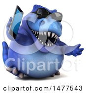 3d Blue Tommy Tyrannosaurus Rex Dinosaur Mascot On A White Background