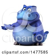 Clipart Of A 3d Blue Tommy Tyrannosaurus Rex Dinosaur Mascot  On A White Background Royalty Free Illustration