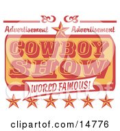 Poster, Art Print Of Vintage Advertisement For A World Famous Cowboy Show With Stars