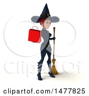 Clipart Of A 3d Sexy Witch In Dark Blue On A White Background Royalty Free Illustration