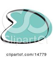 Retro Boomerang Turquoise Circle Graphic Shape Clipart Illustration