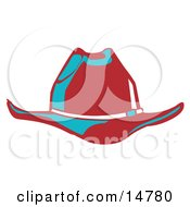 Red Cowboy Hat Cast In Blue Lighting Clipart Illustration