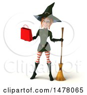 3d Sexy Witch In Green On A White Background