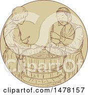 Medieval Alewives Brewing Beer Ale In Vat In Sketch Style