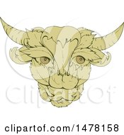 Green Leafy Cow Or Bull Head In Sketch Style