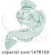 Clipart Of A Jumping Catfish In A Sea Captain Hat In Sketch Style Royalty Free Vector Illustration by patrimonio