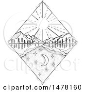 Clipart Of A Diamond With Day And Night Scenes With Sun And Mountains In Sketch Style Royalty Free Vector Illustration by patrimonio