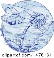 Dragonfly Over A Mountainous Lake Scene In Sketch Style