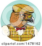 Clipart Of A Sketched Englishman Hawk In A Circle Royalty Free Vector Illustration