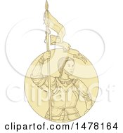 Sketch Styled Joan Of Arc Holding A Flag
