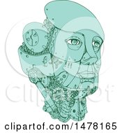 Poster, Art Print Of Female Robot Head In Sketch Style