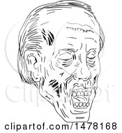 Clipart Of A Zombie Head In Sketch Style Royalty Free Vector Illustration by patrimonio