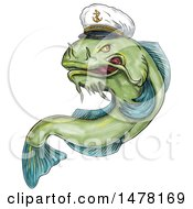 Captain Catfish In Tattoo Style On A White Background
