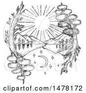 Clipart Of A Tattoo Styled Day And Night Landscape With Trees Framing A Lake And Mountains On A White Background Royalty Free Illustration by patrimonio