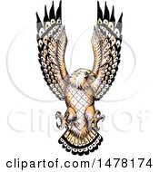 Clipart Of A Tattoo Styled Swooping Osprey On A White Background Royalty Free Illustration
