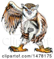 Clipart Of A Tattoo Styled Owl Holding A Spartan Helmet On A White Background Royalty Free Illustration by patrimonio