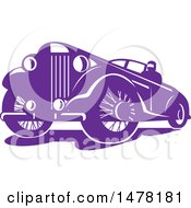 Clipart Of A Purple Vintage Car Royalty Free Vector Illustration by patrimonio