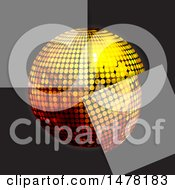 Clipart Of A 3d Gold Disco Ball With Semi Transparent Squares On Black Royalty Free Vector Illustration