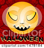 Clipart Of A Creepy Scary Faced Moon Over Halloween Text On Red With Bare Branches Royalty Free Vector Illustration