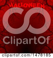 Clipart Of A Background Of Black Bare Tree Branches On Red With Halloween Text Royalty Free Vector Illustration