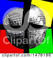 Clipart Of A 3d Silver Disco Music Ball In Split Up Colorful Squares On Black Royalty Free Vector Illustration