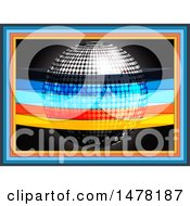 Clipart Of A 3d Silver Disco Music Ball With Colorful Stripes And Frames Royalty Free Vector Illustration