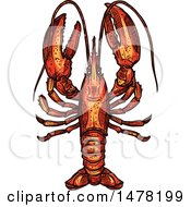 Clipart Of A Sketched Lobster Royalty Free Vector Illustration by Vector Tradition SM