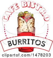 Clipart Of A Sketched Burrito And Text Design Royalty Free Vector Illustration