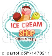 Waffle Ice Cream Cone And Text Design