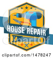 Clipart Of A House Repair And Tools Design Royalty Free Vector Illustration
