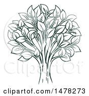Clipart Of A Tree With Leaves Royalty Free Vector Illustration